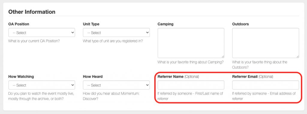 "Image highlighting ""Referrer Name"" and ""Referrer Email"" on registration form"