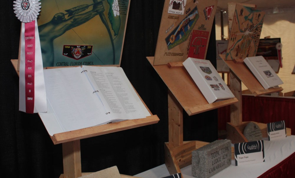 Lodge legacy displays at the Legacy Tent